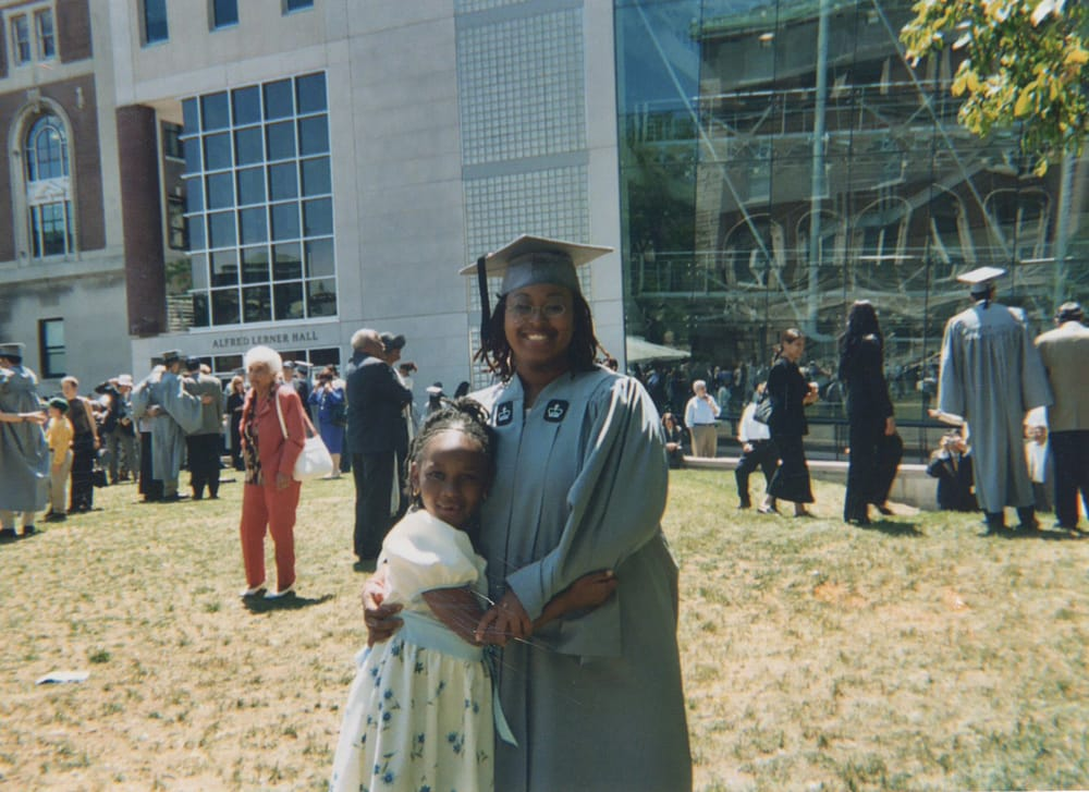 Christa David, graduating from Columbia University with her daughter, Nikierra.