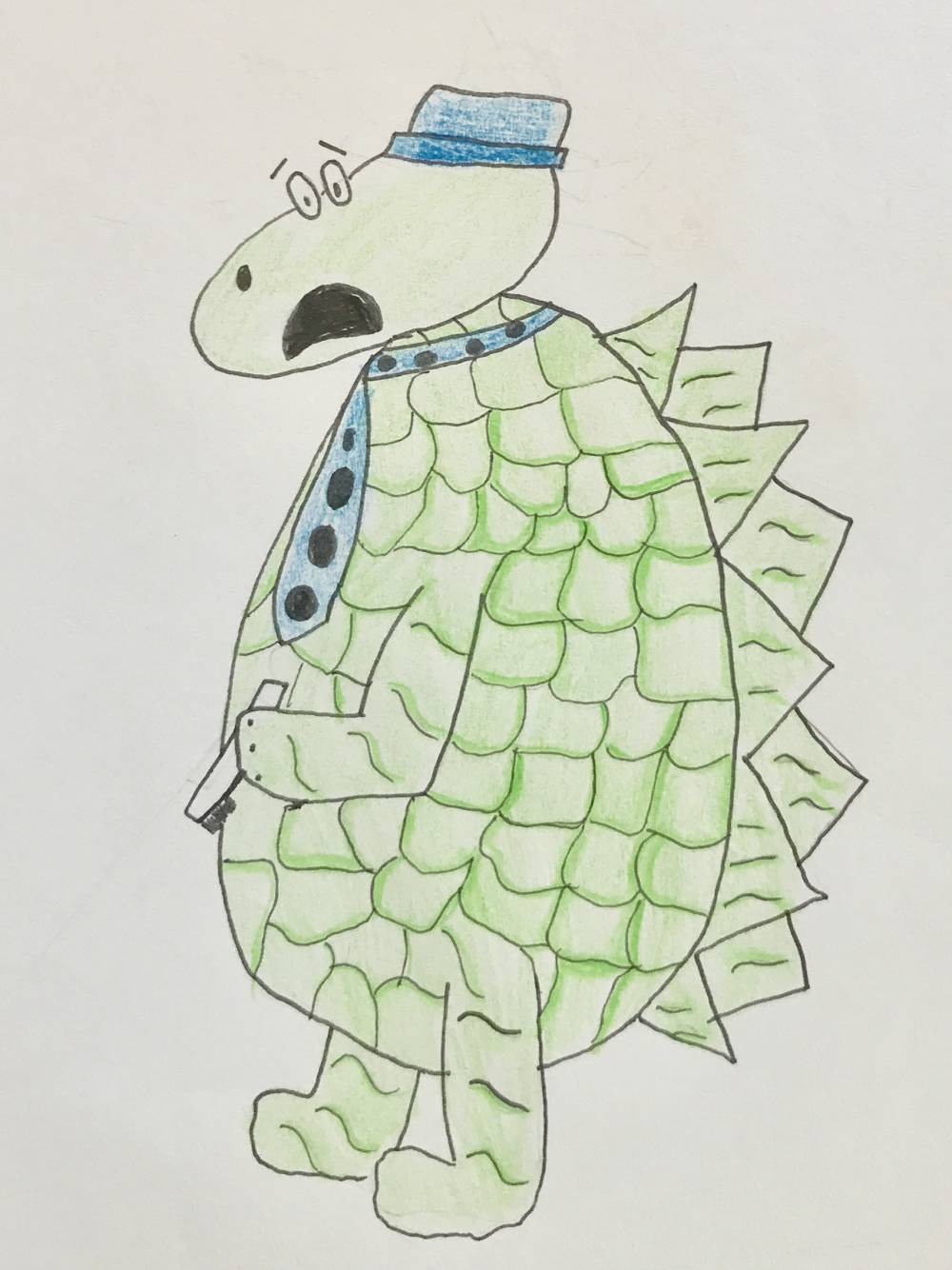 Dinosaur drawing by Andrea. Part of a very early idea for a children's book.