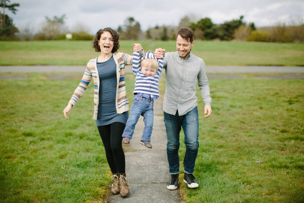 Andrea with her husband, Brad and their son, August. Photo: Casey Cosley.