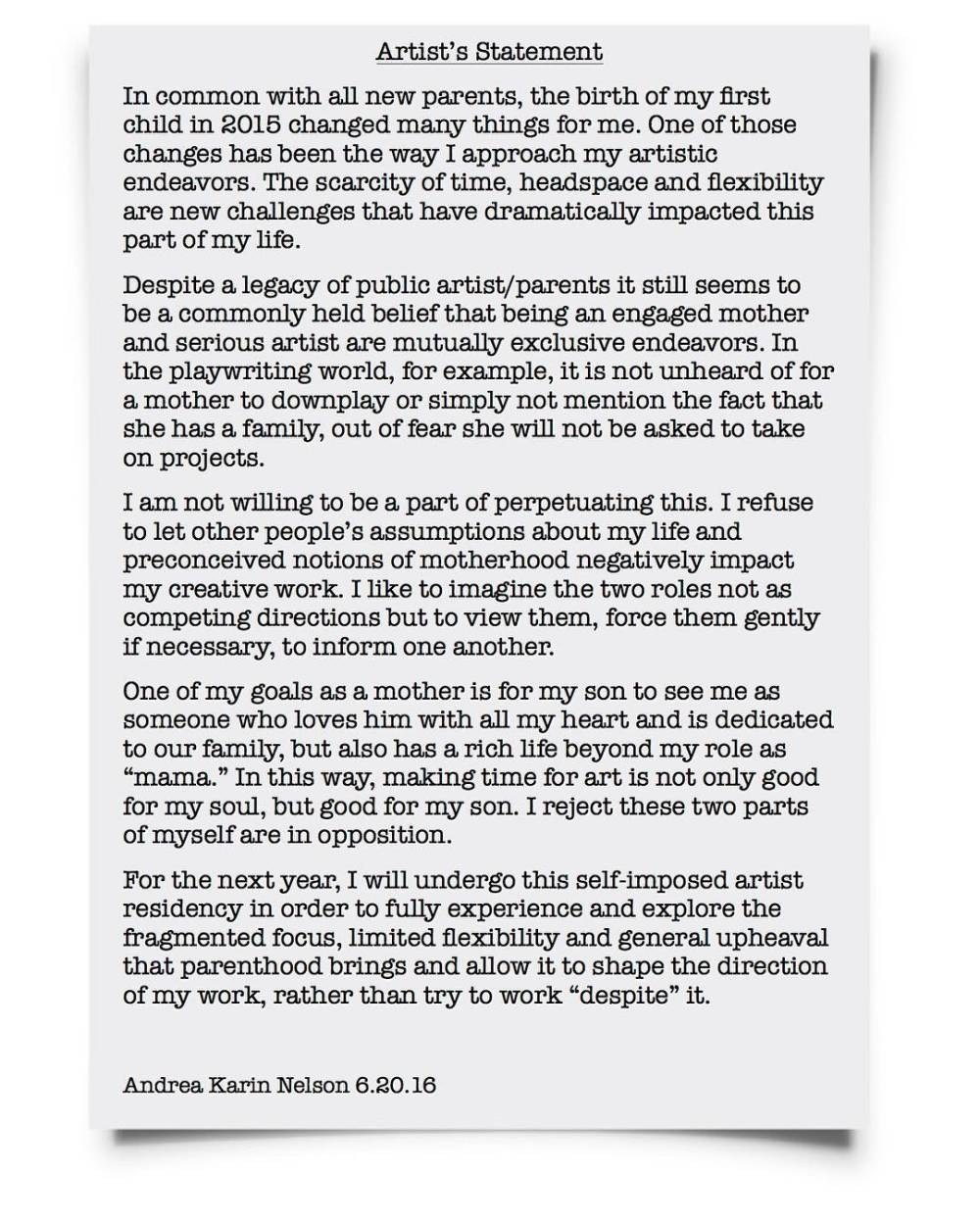 Andrea's Artist Statement for her Artist's Residency in Motherhood.