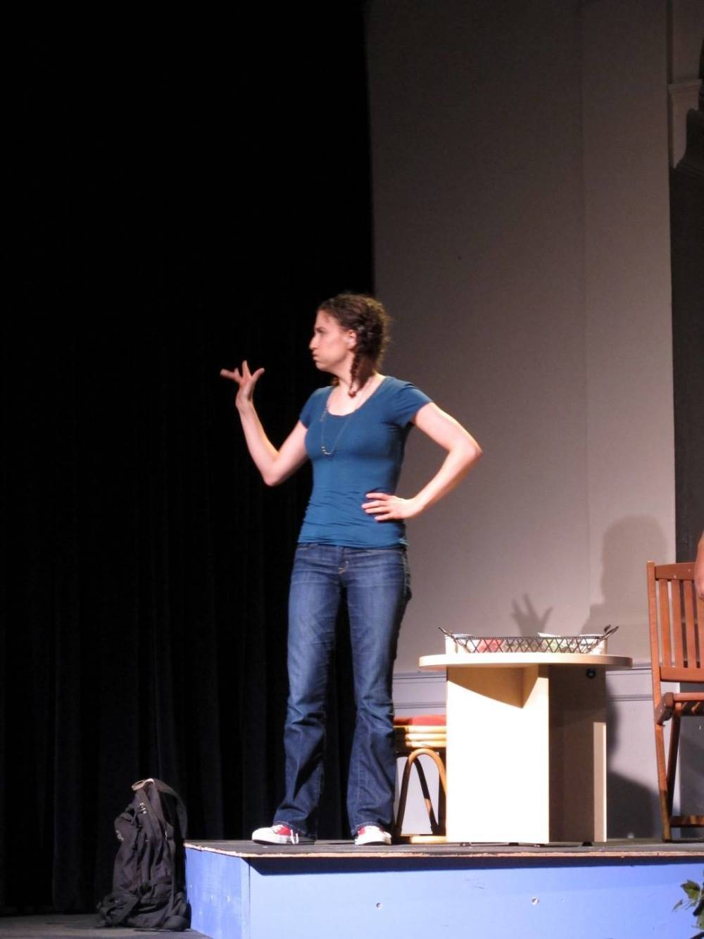 Andrea in 2012 as an actor in 'Waiting for Rosalie', a play performed entirely in American Sign Language by Deaf and hearing actors. Produced by Abused Deaf Women's Advocacy Services as part of Sexual Assult Awareness Month. Photo: Jason Tang