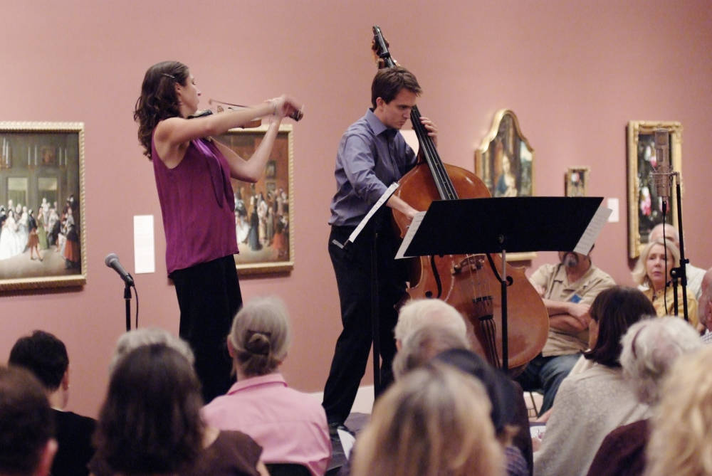 Kate in performance with bassist Jeremy Kurtz-Harris in performance for Art of Élan at the San Diego Museum of Art.