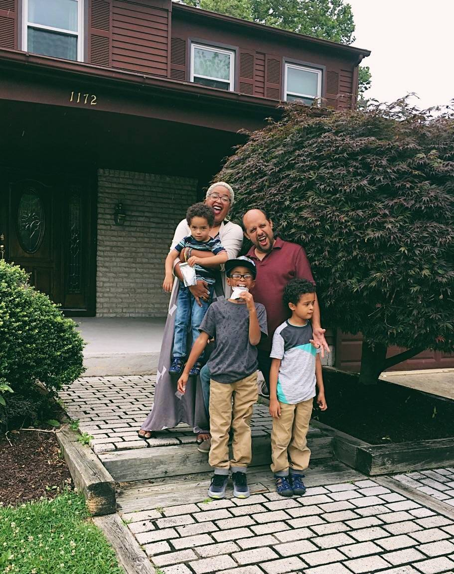 A'Driane with her husband Bert, and boys Austin, Brennan and Adrian, now ages 4, 10 and 7.