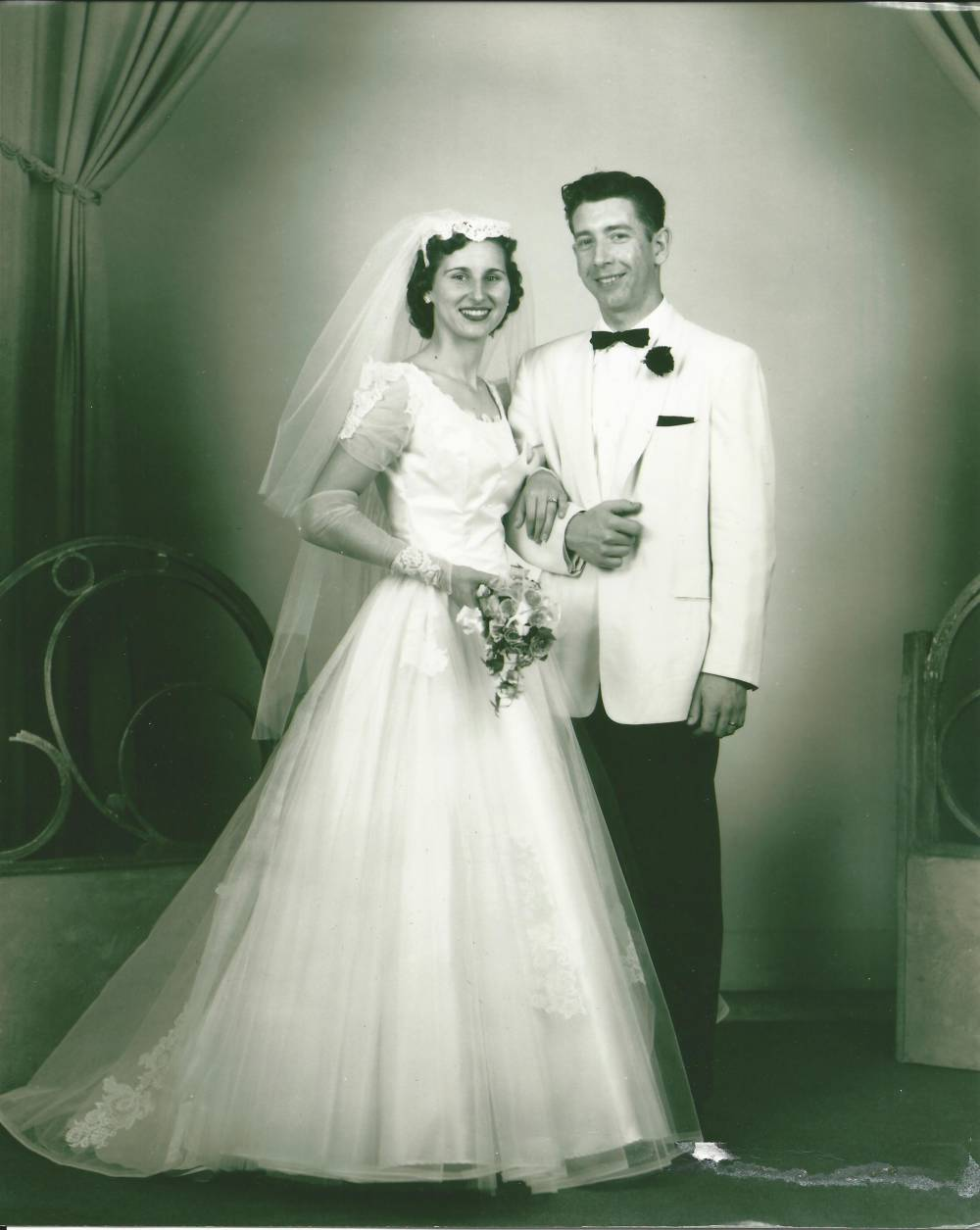 Amanda's grandparents on their wedding day. Amanda's grandma Jane taught her to sew and inspired her career as a dressmaker.