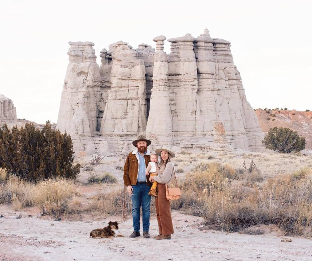 Seth, Wyeth, Stella, and their sheepdog Fox in Abiquiu, New Mexico.