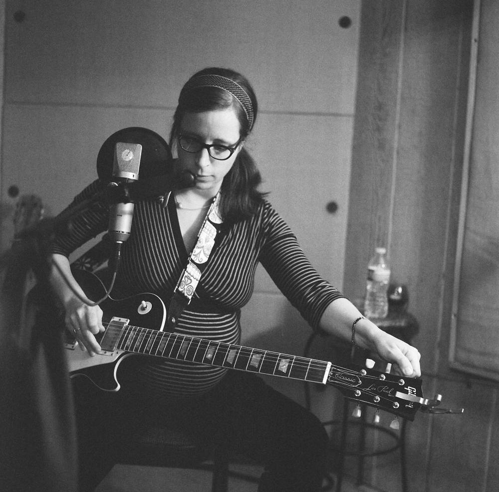A pregnant Laura Veirs at work (2013). Photo: Jason Quigley