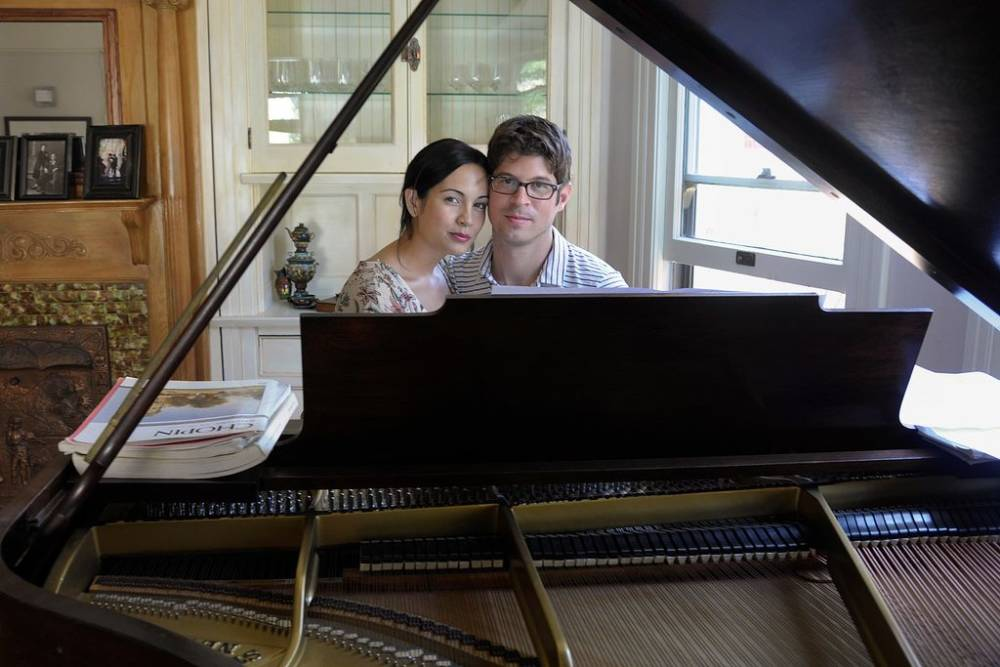 Janine Salinas Schoenberg, with her husband, composer Adam Schoenberg. Photo: Vanessa Maldonado