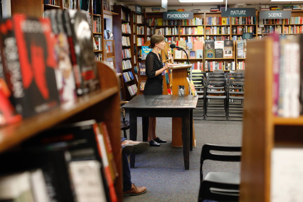 Sarah Menkedick, during a reading at Politics and Prose Bookstore in Washington, D.C.