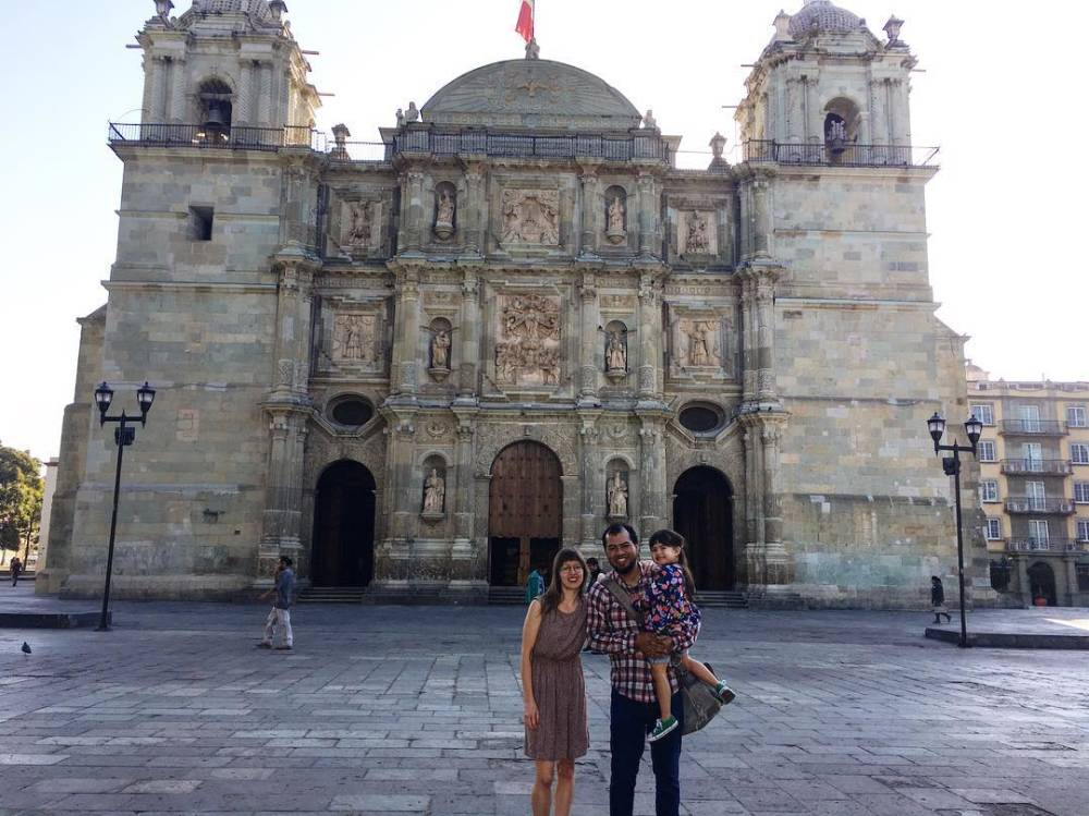 Sarah Menkedick with her husband, Jorge Santiago and their daughter Elena, in Oaxaca, Mexico.