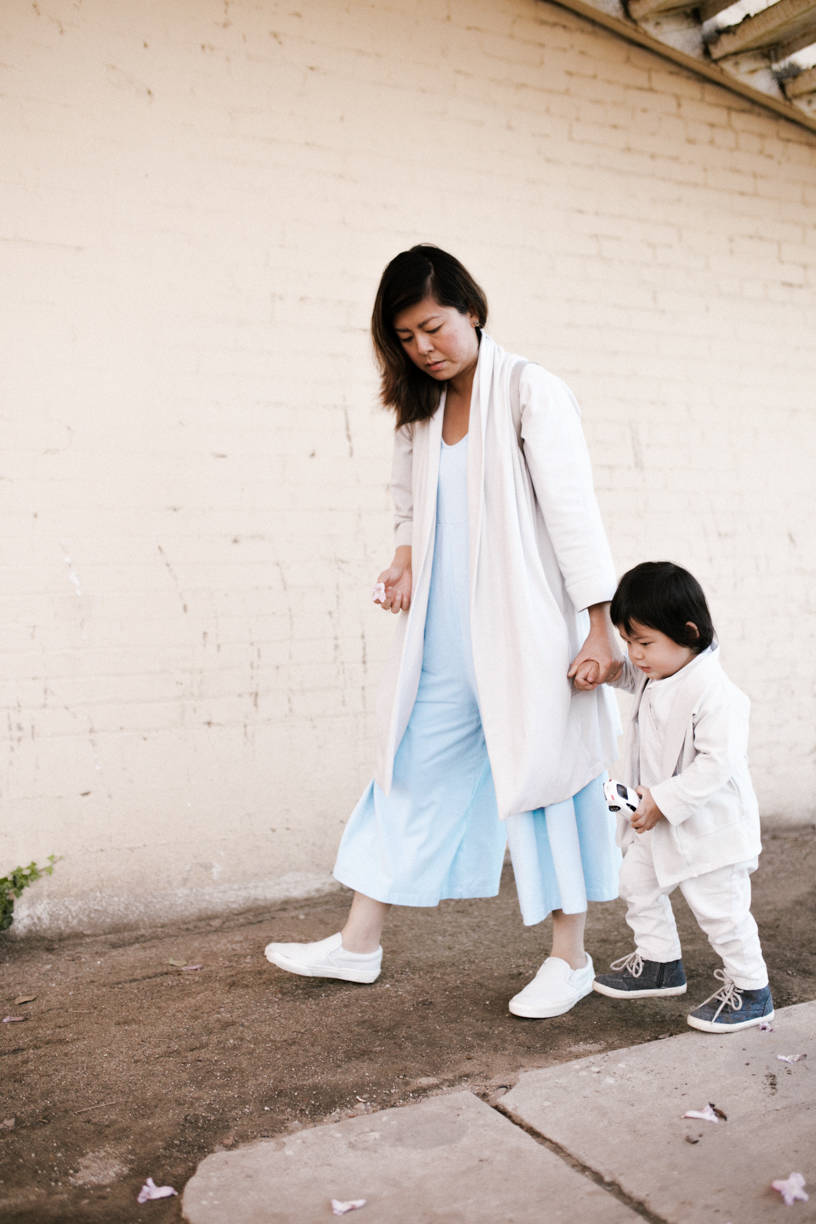 Lisa Hsieh with her son Greysen, wearing the collection of mommy-and-me pieces from Mien Studios. Photo: Rebekkah Cefai