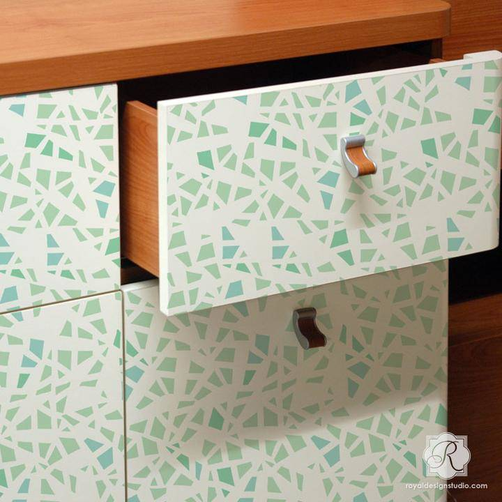 'Shattered' furniture stencil created by Christine Joy Design for Royal Design Studio Stencils.