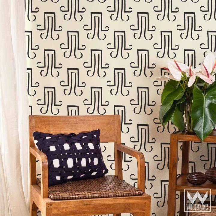 'Glyph' removable wallpaper by Christine Joy Design for Wallternatives