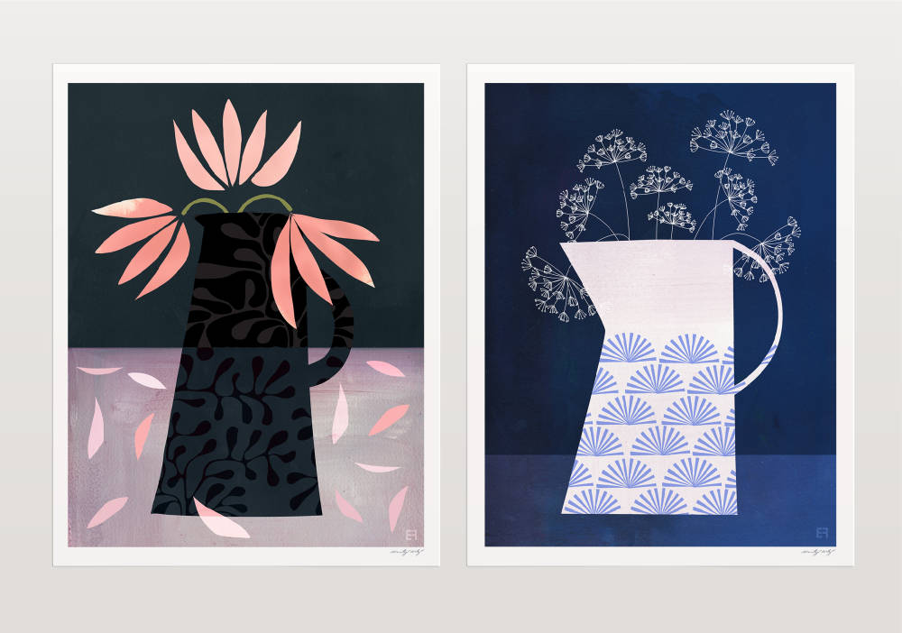 'Tulips' and 'Queen Anne's Lace' Original Digital Collages, archival prints by Emily French