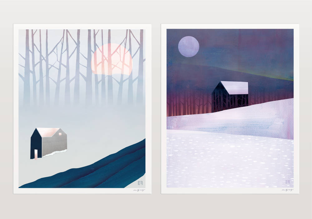'River House' and 'Winter House' Original Digital Collage, archival prints by Emily French