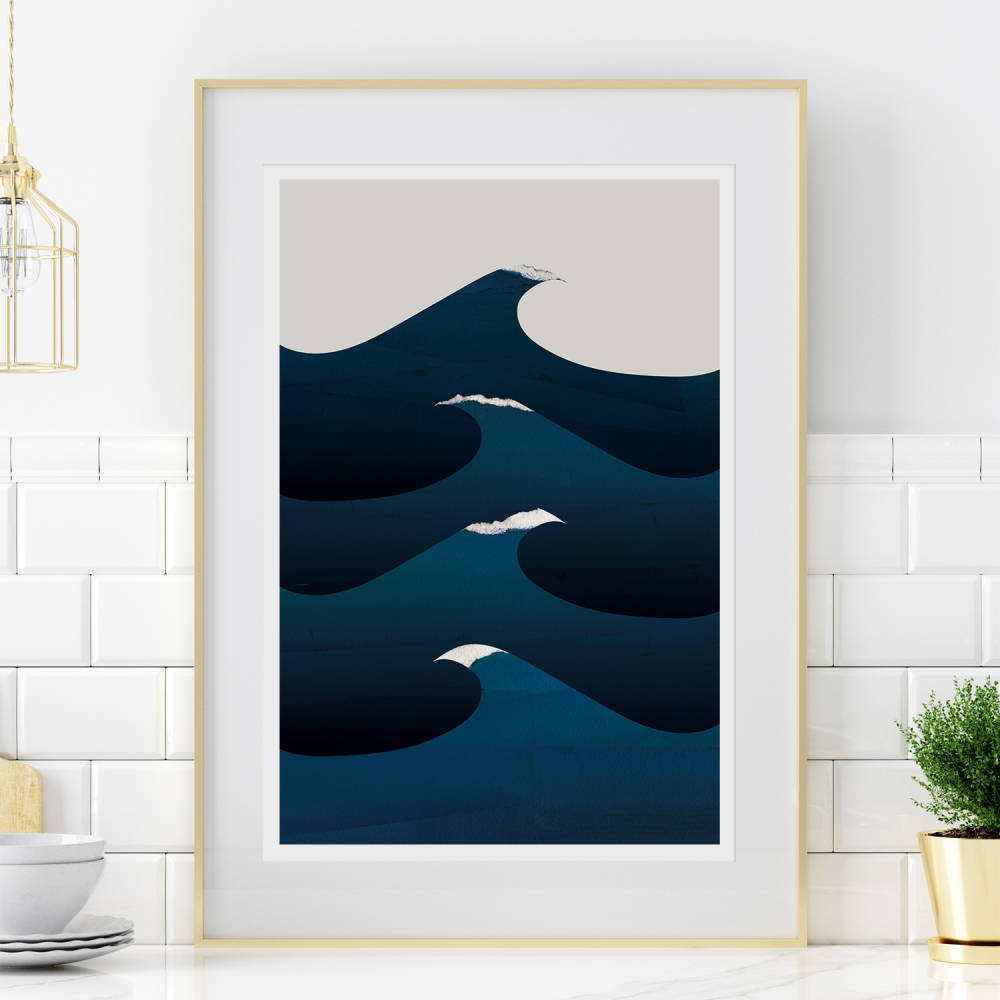 'Waves' Original Digital Collage, archival print by Emily French