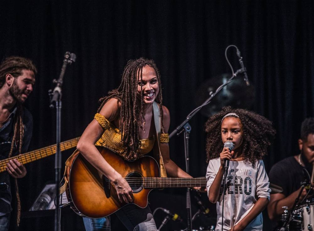 Naima Adedapo, on stage with her daughter Abiola.